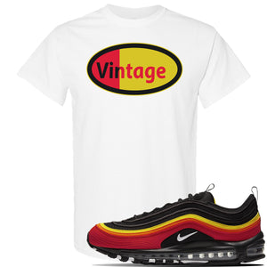 Air Max 97 Black/Chile Red/Magma Orange/White Sneaker White T Shirt | Tees to match Nike Air Max 97 Black/Chile Red/Magma Orange/White Shoes | Vintage Oval