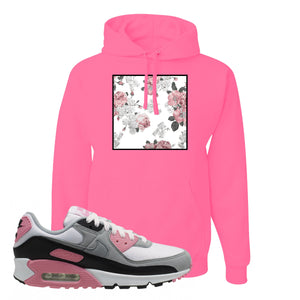 WMNS Air Max 90 Rose Pink Flower Box Neon Pink Pullover Hoodie To Match Sneakers