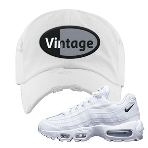 Air Max 95 White Black Distressed Dad Hat | White, Vintage Oval