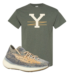 Yeezy Boost 380 Mist Sneaker Heather Military Green T Shirt | Tees to match Adidas Yeezy Boost 380 Mist Shoes | YZ