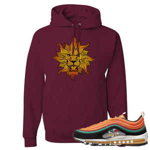 Printed on the front of the Air Max 97 Sunburst maroon sneaker matching pullover hoodie is the Vintage Lion Head logo