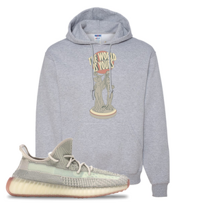 Yeezy Boost 350 V2 Citrin Non-Reflective The World Is Yours Statue Athletic Heather Sneaker Matching Pullover Hoodie