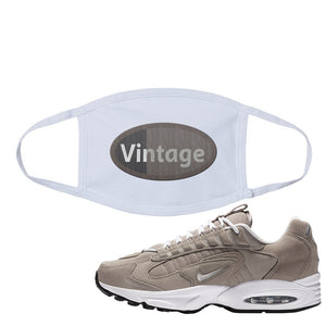 Air Max Triax 96 Grey Suede Face Mask | Vintage Oval, White