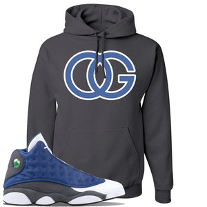 Jordan 13 Flint 2020 Sneaker Charcoal Gray Pullover Hoodie | Hoodie to match Nike Air Jordan 13 Flint 2020 Shoes | OG