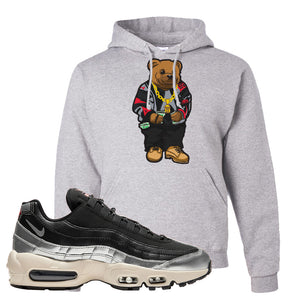 3M x Nike Air Max 95 Silver and Black Pullover Hoodie | Sweater Bear, Ash