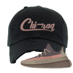 Yeezy 350 v2 Ash Stone Distressed Dad Hat | Chiraq, Black