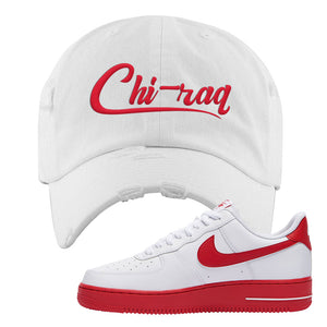 Air Force 1 Low Red Bottoms Distressed Dad Hat | White, Chiraq