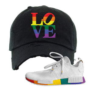 NMD R1 Pride Distressed Dad Hat | Black, Love Park