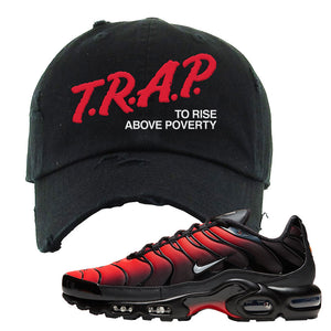 Nike Air Max Plus Dead Pool Distressed Dad Hat | Trap To Rise Above Poverty, Black