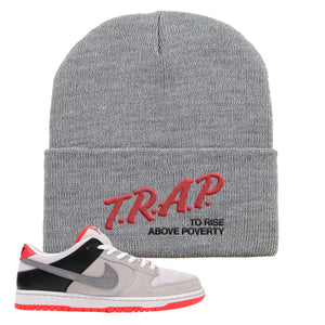 Nike SB Dunk Low Infrared Orange Label Trap To Rise Above Poverty Light Gray Beanie To Match Sneakers