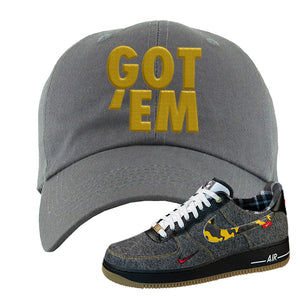 Air Force 1 Low Plaid And Camo Remix Pack Dad Hat | Got Em, Dark Gray