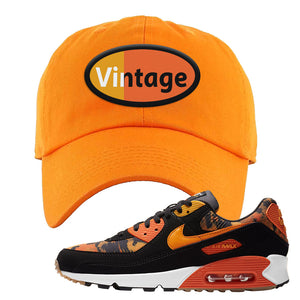 Air Max 90 Orange Camo Dad Hat | Vintage Oval, Orange