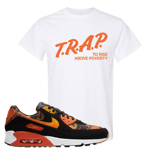 Air Max 90 Orange Camo T Shirt | Trap To Rise Above Poverty, White