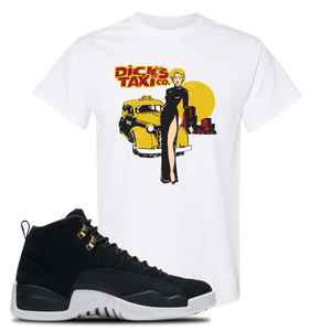Dick's Taxi Co White T-Shirt To Match Jordan 12 Reverse Taxi Sneakers