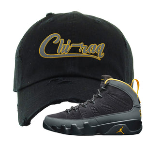 Air Jordan 9 Charcoal University Gold Distressed Dad Hat | Chiraq, Black