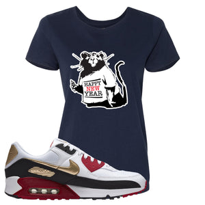 Air Max 90 Chinese New Year Women's T Shirt | Navy Blue, Happy New Year Rat