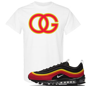 Air Max 97 Black/Chile Red/Magma Orange/White Sneaker White T Shirt | Tees to match Nike Air Max 97 Black/Chile Red/Magma Orange/White Shoes | OG