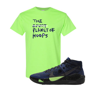 KD 13 Planet of Hoops T Shirt | Planet Of Hoops Lettering, Neon Green