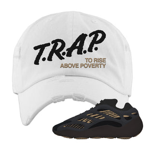 Yeezy 700 v3 Eremial Distressed Dad Hat | Trap To Rise Above Poverty, White