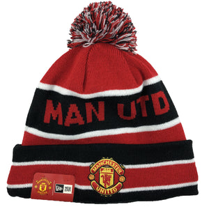 embroidered on the front of the manchester united fleece-lined winter knit beanie is the manchester united logo in red and yellow