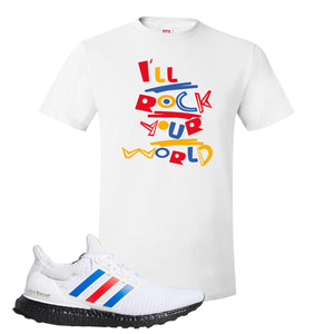 Ultra Boost White Red Blue T Shirt | White, I'll Rock Your World