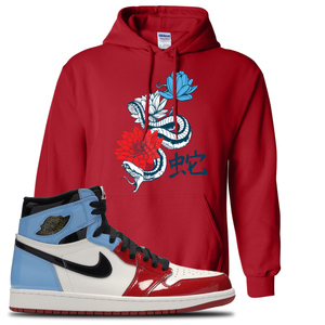 Air Jordan 1 Fearless Snake Lotus Red Made to Match Pullover Hoodie