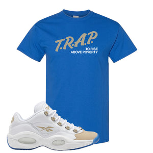 Reebok Question Low Oatmeal T Shirt | Royal Blue, Trap To Rise Above Poverty