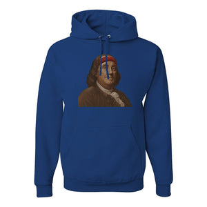 Ben Franklin Sweatband Pullover Hoodie | Ben Franklin Sweat Band Royal Blue Pull Over Hoodie the front of this hoodie has ben franklin with the sweatband on