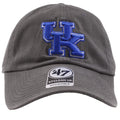 Embroidered on the front of the university of kentucky charcoal dad hat is the UK logo in blue and white
