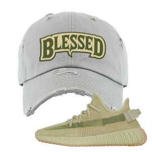 Yeezy 350 v2 Sulfur Distressed Dad Hat | Light Gray, Blessed Arch