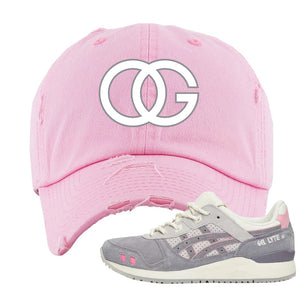 END x Asics Gel-Lyte III Grey And Pink Distressed Dad Hat | OG, Pink