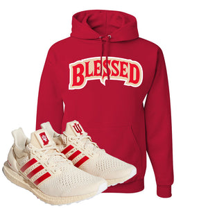 Adidas Ultra Boost 1.0 Indiana Pullover Hoodie | Blessed Arch, Red