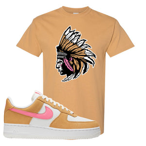 Nike Air Force 1 Pink Orange T-Shirt | Indian Chief, Old Gold