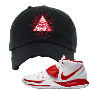Kyrie 6 White University Red Distressed Dad Hat | All Seeing Eye, Black