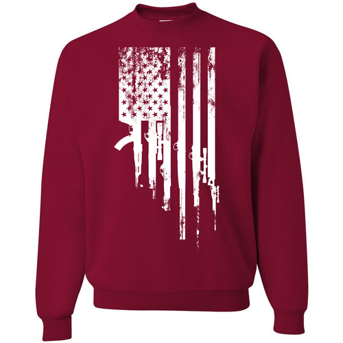Standard Issue Gunned American Flag Cardinal Red Grunt Life Crewneck Sweater