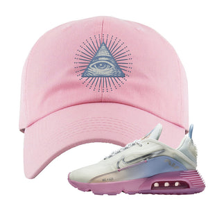 Air Max 2090 Airplane Travel Dad Hat | All Seeing Eye, Light Pink