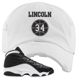 Jordan 13 Reverse He Got Game Distressed Dad Hat | White, Lincoln 34