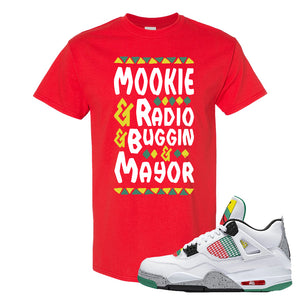Jordan 4 WMNS Carnival Sneaker Red T Shirt | Tees to match Do The Right Thing 4s | Mookie And Gang
