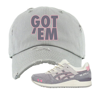 END x Asics Gel-Lyte III Grey And Pink Distressed Dad Hat | Got Em, Light Gray