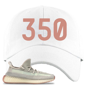 Yeezy Boost 350 V2 Citrin Non-Reflective 350 White Sneaker Matching Dad Hat