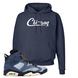 Jordan 6 Washed Denim Hoodie | Navy Blue, Chiraq