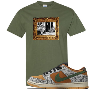 SB Dunk Low Safari Sneaker Military Green T Shirt | Tees to match Nike SB Dunk Low Safari Shoes | Pet Cheetah