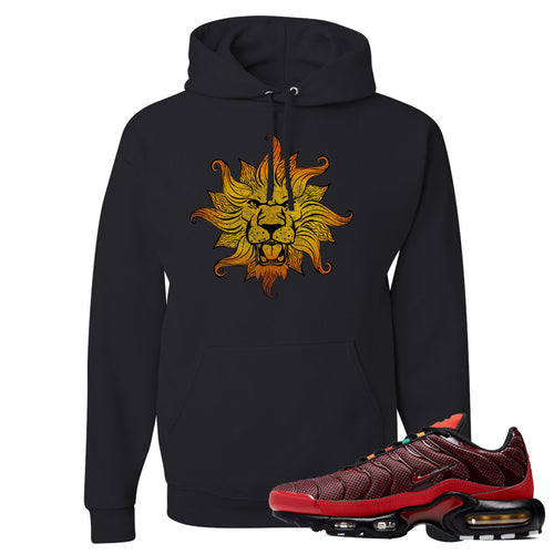 printed on the front of the air max plus sunburst sneaker matching black pullover hoodie is the vintage lion head