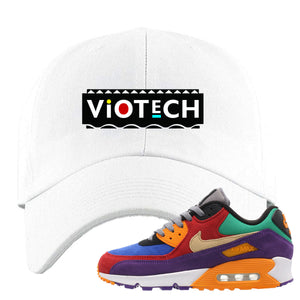 Embroidered on the front of the Air Max 97 Viotech white sneaker matching dad hat is the Viotech Martin logo