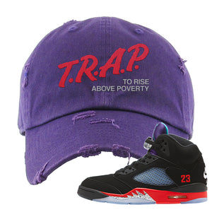 Air Jordan 5 Top 3 Distressed Dad Hat | Purple, Trap To Rise Above Poverty