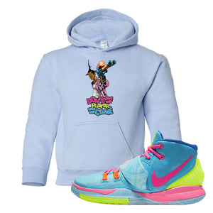Kyrie 6 Pool Kids Pullover Hoodie | Dont Hate The Player, Light Blue