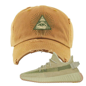 Yeezy 350 v2 Sulfur Distressed Dad Hat | Timberland, All Seeing Eye