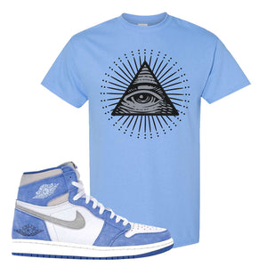 Air Jordan 1 High Hyper Royal T-Shirt | All Seeing Eye, Carolina Blue