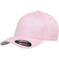 the pink flexfit bent brim stretch fit elastic fit ball cap has a structured crown, bent brim, and is pink