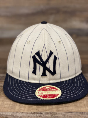 Front view of Yankees Retro Crown 5950 fitted pinstripe fit hat  | Vintage Heritage series coopertown collection 59fifty  | CREAM/BLACK